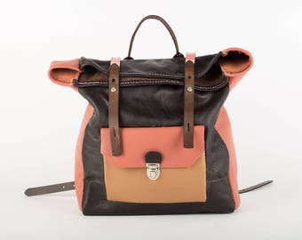 Roll top brown and dusty pink Italian leather laptop backpack