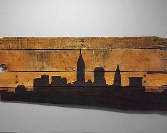 "Rustic City Skyline ""Cleveland"""