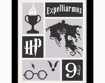 Buy 2 get 1 free. Harry Potter Cross  Stitch Pattern. Harry Potter modern cross stitch.(#P- 1282). Harry Potter Counted Cross Stitch Pattern