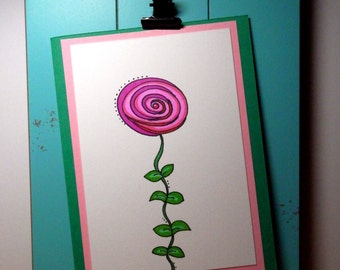 Greeting Card, Blank Card, Flower Card, Handmade Original Art