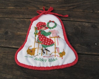 Vintage Holly Hobbie Holiday Wishes Christmas Pot Holder