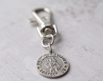 Personalised Saint Christopher Medal - Personalised 3D Circular Silver Saint Christopher Key Chain