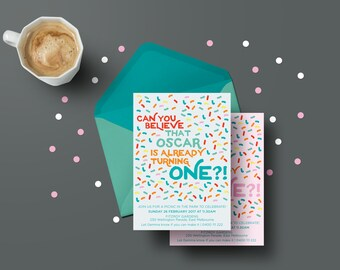 First birthday sprinkles themed printable personalised invitation | Birthday party | Kid's birthday invites | One
