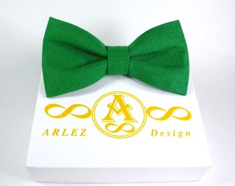 Green Bow Tie, Emerald Green Bow tie, Green Bowtie, Men's Green Bow tie, Kid's Green Bow tie