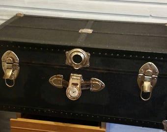 Vintage Steamer Trunk 1960's , Vintage Luggage, Original Hardware, Military History