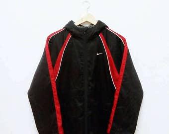 Hot Sale!!! Rare Vintage NIKE Big Logo Hoodie Winter Parka Long Jacket Hip Hop Skate Swag Medium Size