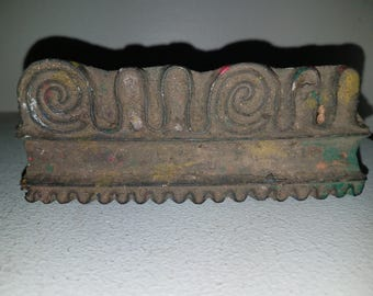 Vintage Fabric Wooden Stamp - Border