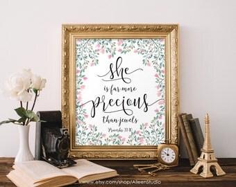 She is more precious than jewels,Bible verse,Proverbs 31:10,Nursery Wall Art,Bible verse print,Scripture art,Bible verse printable,#WA007