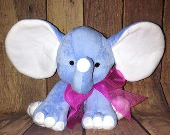 Plain Stuffed Blue Elephants-Big Ear Elephants- Monogram Elephants-Monogram Big Ear Elephants- Birth Announcement Elephant-Birth Stats