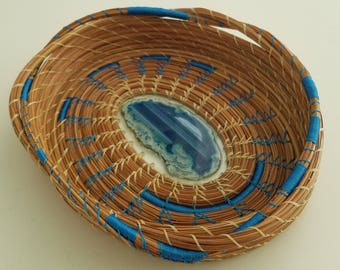 Blue Agate Pine Needle Basket - Baby and Dark Blue Slice of Stone Geode Rock Crystal - Hand sewn- Recycle - Made in Florida USA - 65.00