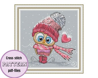THE OWL GIRL / pdf cross stitch pattern / instant download / Valentine's day