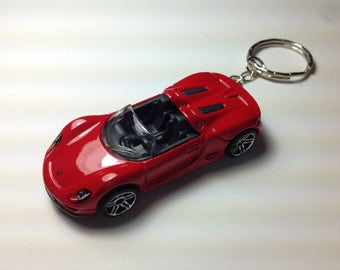 PORSCHE 918 SPYDER Keychain,Keyring Red