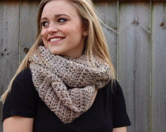 WINTER SALE!!!! Crochet Scarf, Plush gray and tan infinity scarf