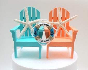 Nautical Chair wedding Topper, Life Ring Personalized, Wedding Cake Chairs, Beach Themed Wedding Cake Decor, Starfish, Cake Topper, Buoy
