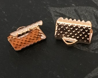 20, rose gold ribbon crimps, ribbon end crimps, rose gold plated crimps, 10mm ribbon crimps, rose gold findings, jewellery making