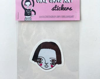 Vinyl sticker illustration girl gang four eyed riot grrl