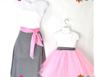 """Mommy and me matching dress set """"Laura"""" baby girl dresses Ladies dress Striped dresses"""