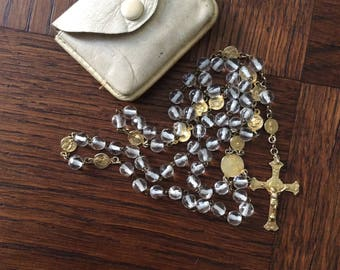 XIX VERMEIL Crystal ROSARY sterling silver - Antique Necklace - Sterling silver and Gold - Antique french hallmarks-pouch leather