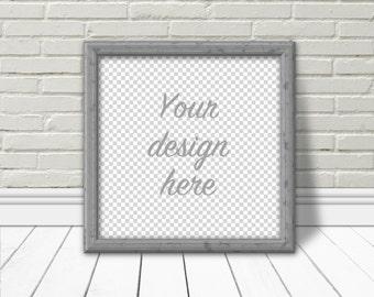 Digital mock-up, square frame, digital overlay, frame mock-up, white brick, white wood floor, instant download