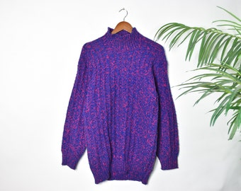 Vintage Oversized Red and Blue Knitted Sweater