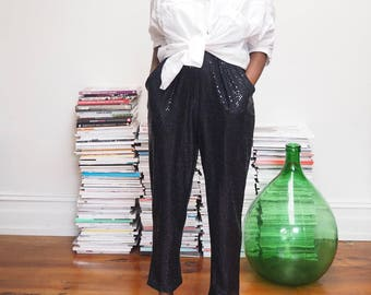 Vintage sequin black sheer pants | M