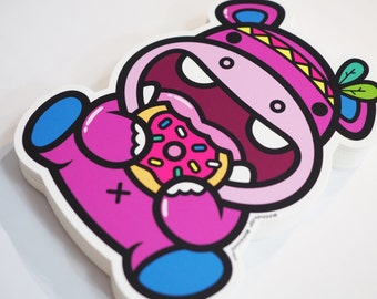 Hungry Hippo Die Cut Vinyl Stickers 100mm