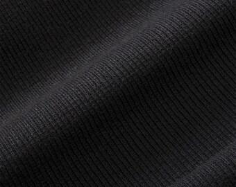 ProECO® Stretch-FIT Heavy Organic Cotton Rib Fabric (Black, sold by the yard)