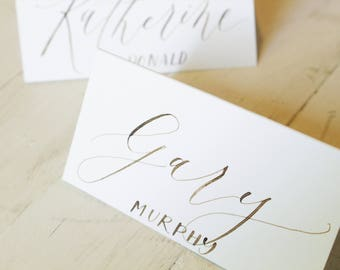 Calligraphy Place Cards / cream paper with walnut ink / printed last names