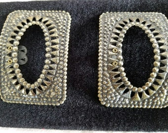 Vintage Buckle-Style Shoe Clips – Metallic – 1950s