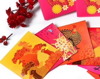 12 Chinese New Year of the Rooster Money Envelopes (Variety Pack)