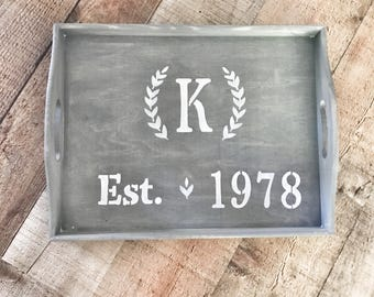 Rustic wood tray, Decorative tray, coffee table tray, rustic home decor, farmhouse decor, customized decor, personalized gift