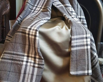 THROW...grey checked wool with satin back