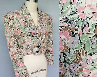 morning meeting / 80s does 40s floral cropped jacket / 6 8 10 small - medium