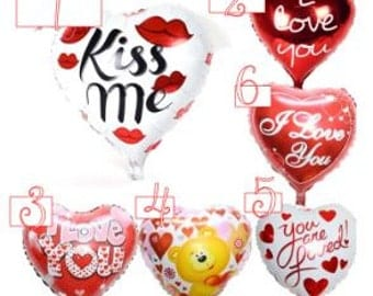SALE!! Valentines Heart Balloons, Love Balloons, Birthday Balloons, I Love You Balloons, Kiss Me Balloon, You Are Loved Balloon