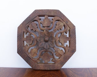 Hand Carved Wooden Trivet