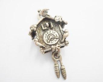 Vintage Charm, Sterling Charm, Sterling Clock, Clock Charm, Coo Coo Clock, Genuine Sterling Silver CuckCoo Clock Charm Pendant #2058