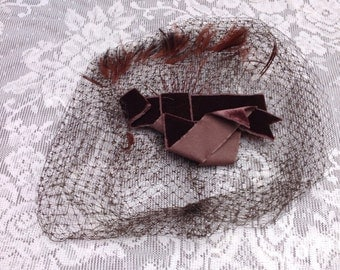 Vintage 1960's Dark Brown Veil with Velvet Bow and Feathers