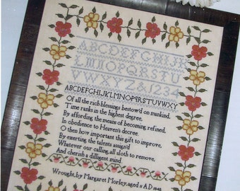 Margaret Morley 1840 Reproduction Sampler by Black Branch Needlework Counted Cross Stitch Pattern/Chart