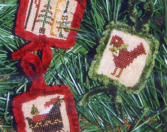 1/2 Price Winter Teenies I w/Chenille Trim and Charms by Homespun Elegance Counted Cross Stitch Pattern/Chart