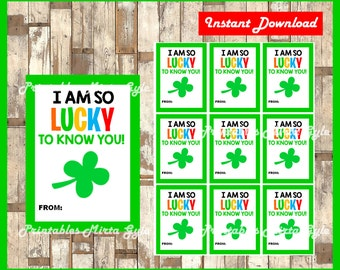 St. Patrick's Day tags instant download , Printable lucky to know you tags, St  Patrick's Day gift tags