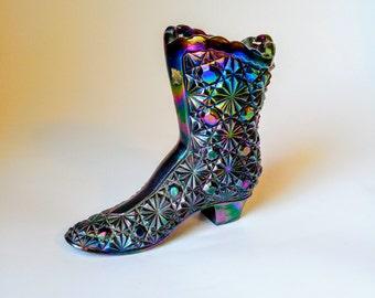 Vintage Fenton Dark Purple Carnival Glass Daisy and Button Glass Boot
