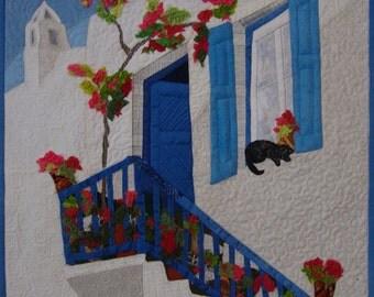 small Art Quilt, Textile Wall hanging, city landscape quilt, Greek town, Cat art quilt, Home art Decor, bougainvillaea,flowers,Greek house