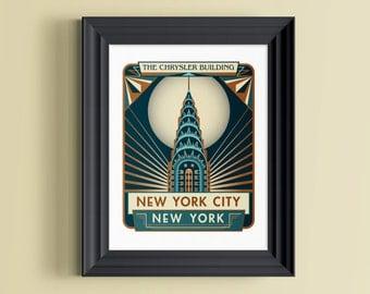 New York print | New York skyline | New York skyline art | New York wall art | New York wall decor | New York gift | Chrysler Building