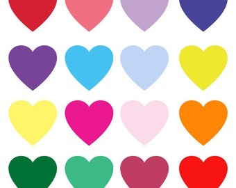 Assorted Colors Hearts Collection Clip Art Set, Love, Illustration, Design