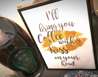 Coffee quote art print gold lips glitter detail