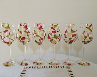 Hand painted wine glasses - set of 6