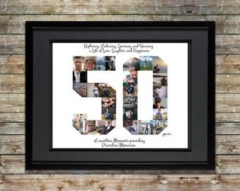 50th Birthday / Anniversary Photo Collage - 50th Birthday Centerpiece - 50th Birthday Gift - 50th Anniversary Gifts - Custom Photo Collage