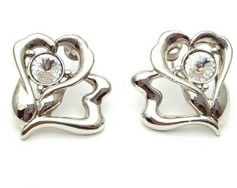 Silver Hearts and Clear Diamond Shaped Rhinestone Stud Earrings Vintage from the 90s