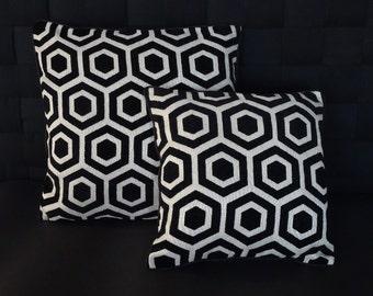 Black & Ivory velvet cushion cover 40x40cm, 50x50 cm, 50x30cm