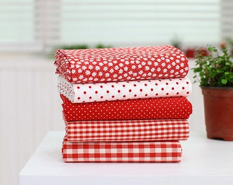 """Pastel Color Red Series 20s Cotton Fabric - 44""""x35"""" - 1 Yard"""